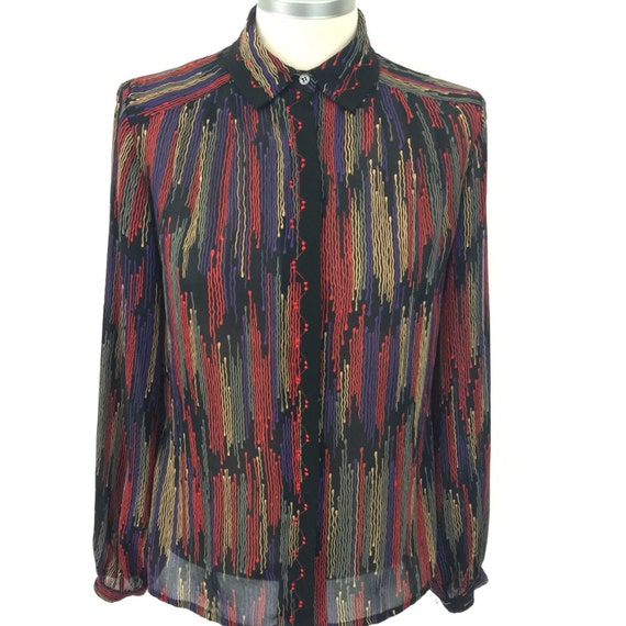 Vintage blouse 1980s jazzy print shirt sheer UK 12 Mom style glam 80s black geometric avant garde embroidered