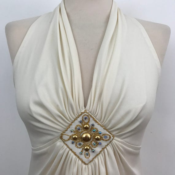 Vintage maxi dress cream silky jersey polyester long bridal gown Alternative wedding 1970s disco dress Deep V neckline UK 8 US 4 gold beaded