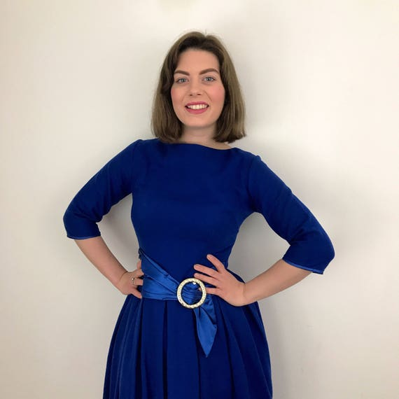 1950s wool dress electric blue brushed nylon mix winter frock fit flared skirt satin sash belt early 1960s UK 8 50s rockabilly 3/4 sleeves