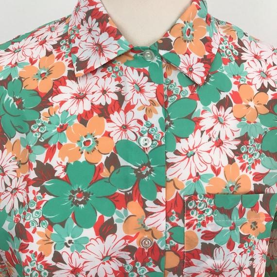 Vintage blouse flowery shirt orange mint green floral pattern UK 12 nu wave Mod flower power