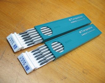 mechanical lead pencil refill turquoise eadle drawing vintage hb 2375
