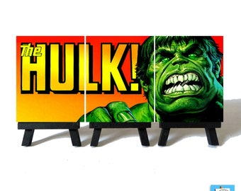 The Incredible HULK - Classic Miniature Canvas and Easel Set - The Perfect Gift !!!