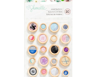 Shimelle - Little By Little Collection - Wood Buttons - 20 pieces - 378366