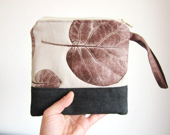 Canvas purse, Hand Printed bag, Brown leaves stamp, wallet, handbag, canvas pouch,  brown purse