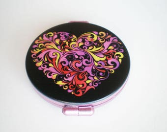 Pocket mirror, hand mirror, Pocket mirror art, Heart, Printed pocket mirror, heart pocket mirror, Gift for her, Woman gift, Gift idea