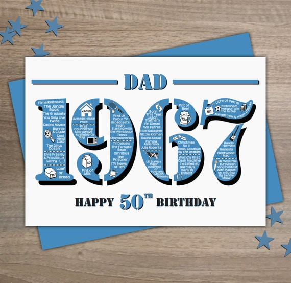 Dad 1967 Happy 50th Birthday Handmade Card