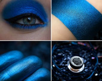 Eyeshadow: Parented by Abyss - Undead. Dark blue satin eyeshadow by SIGIL inspired.