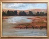 Marshland - California landscape plein air 24x18 oil painting
