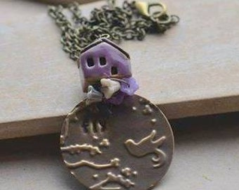 Vintaj Embossed & Hand Stamped Fly Pendant with Purple Ceramic House Bead and Flowers UK Seller