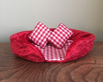 Red Small Pet Bed Cute and Cosy Guinea Pig, Hamster, Gerbil, Hedgehog