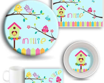 Kids DINNERWARE SET, Personalized Dishes, Melamine Plate, Kids Bowl, Travel Mug, Kids Placemat, Birdhouse Dishes, Kids Tableware, Bird Dish