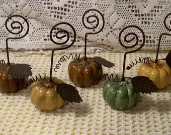 Ceramic And Wire Pumpkin Place Card Holders - Set Of 5