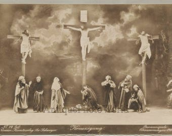 Oberammergau Passion Play crucifixion scene antique albumen photo