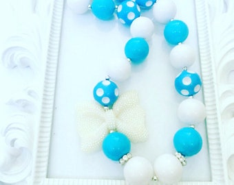 Turquoise And White Frozen Chunky Necklace, Girl's Turquoise Gumball Necklace, Inspired Frozen Chunky Necklace, Girl's Frozen Necklace