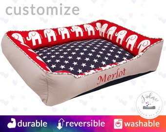 Patriotic Dog Bed - Elephant | Red, White and Blue, Stars | Custom Dog Bed with Your Choice of Fabrics