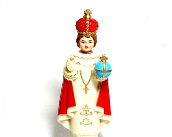 Infant Jesus of Prague Statue, Jesus Figurine, Jesus Statue, Religious Figurine, Religius Gift, Mid Century Marked Hong Kong