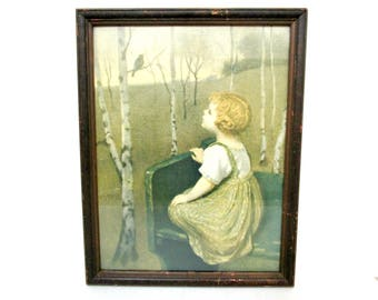 Antique Framed Print, Spring Song by Simon Glucklich, Little Girl on Bench, Watching Bird, Birch Trees, Cottage Farmhouse Decor