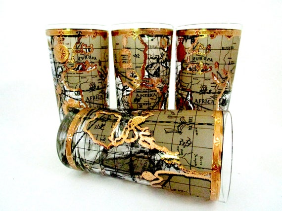 Mid Century Barware, Set of 4, Cera World Map Barware, World Map Highballs, Gold Rimmed, Like New, Excellent Condition, 2 Sets Avail