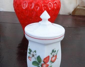 Milk glass jam pot or condiment jar - hexagonal shape with starburst on bottom - very sweet