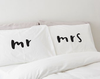 SALE: Mr and Mrs Pillowcases - 2 pillow cases - Home wedding gift - engagement gift - anniversary gift - gift for her - Wedding gift
