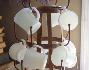 Mug Tree and Milk Glass Mugs Fire King D Handle Set of 8