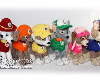 Paw Patrol Pattern, crochet puppy pattern, Chase Marshall Zuma Rocky Rubble Skye Crochet Pattern PDF, Paw Patrol Pups, Paw Patroll Puppies