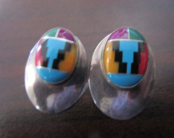 Native American Southwestern Zuni Multi Stone Inlay Sterling Silver Earrings Signed Rwg