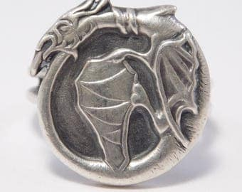 Antique Sterling Silver Dragon Ring