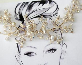 Roswen Opulent Wedding Hair Vine, Crystal & Pearl Bridal Vine, Wedding Accessory, Bridal Headdress, Wedding Tiara, Wedding Headband, Halo.