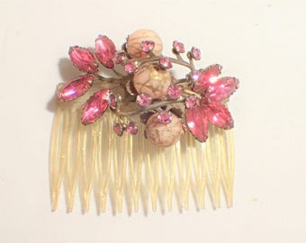 Glitter Lucite Hair Comb with Pink Navettes and Wire Over Pink Stones