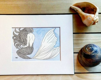 Bashful Mermaid Pen and Ink Watercolor 8x10 Matted Original