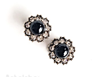 Art deco rhinestone black cluster on stainless steel plugs tunnels for gauged or stretched ears sizes: 4g 2g 0g 00g 7/16 1/2