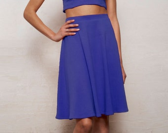 Ponte Jersey High Waist Skirt in Royal Blue. Vintage Style Knee Length Circular Skirt with Waistband
