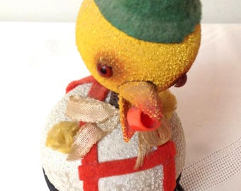 Rare Vintage Paper Maché Chick/Duck Candy/Easter or Christmas Container Bobble Head/Nodder/ Made in West Germany/1940-50's