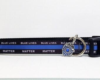 Blue Lives Matter dog collar, TOP SELLER Police dog collar, Police Lives Matter, dog Collar, Law Enforcement, Thin Blue Line dog Collar
