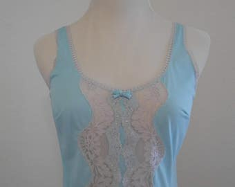 Vintage pale blue aqua semi sheer Italian full slip - Laura