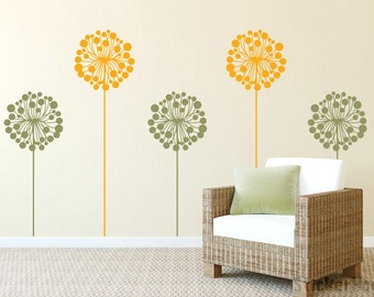 Dandelions Decorative Flowers #1 Floral Wall Decals Graphic Vinyl Sticker Bedroom Living Room Wall Home Decor