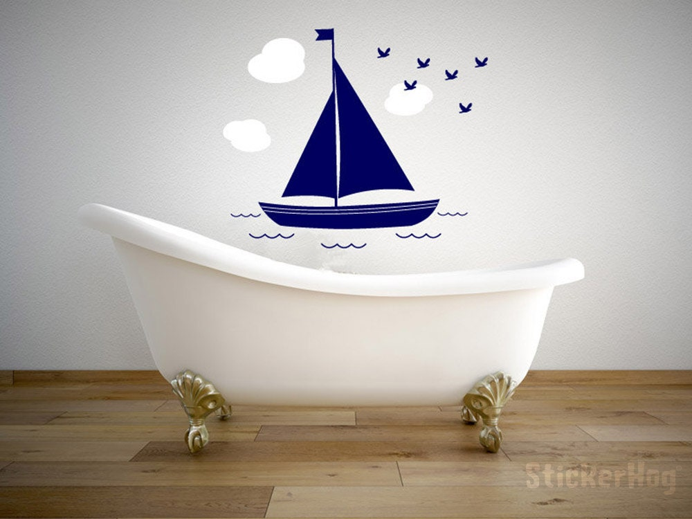 sailboat with clouds and birds nautical wall vinyl decal wall. Black Bedroom Furniture Sets. Home Design Ideas