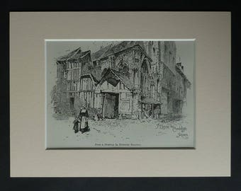 1880s Antique Herbert Railton Print, Monastery of the Cordeliers Picture, Available Framed, Rouen Art, Normandy France Decor Old French Gift