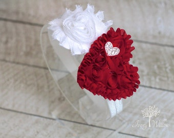 Valentines Day Heart Headband - Red and White Valentines Day Headband  - Baby Headband - Heart Headband - Adult Headband