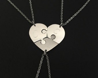 3 Stainless Steel Heart Puzzle Necklaces. 3 Puzzle Necklace Set. Personalized Puzzle Necklace Set.Sister Necklaces. Friendship Jewelry