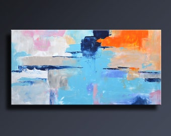 ABSTRACT PAINTING Blue Orange Gray White Painting Original Canvas Art Contemporary Abstract Modern Art 48x24 wall decor - Unstretched - 20C