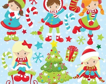 80% OFF SALE Christmas girls clipart commercial use, christmas kids, girls vector graphics, digital clip art, digital im