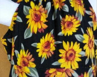 5T  Sunflowers on black knit drawstring neck Sundress