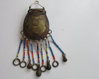 Brass Purse Benin African with Dangle Multi Color Beads Tribal Ethnic Art