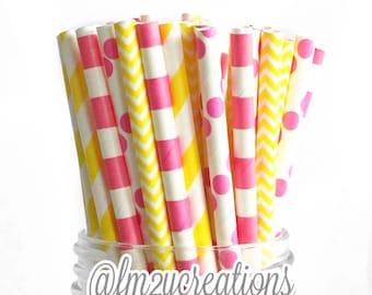 Pink Lemonade Party | Pink and Yellow Paper Straws | Pink Lemonade Baby Shower | Stripe Paper Straws | Drinking Straws | Pink Lemonade
