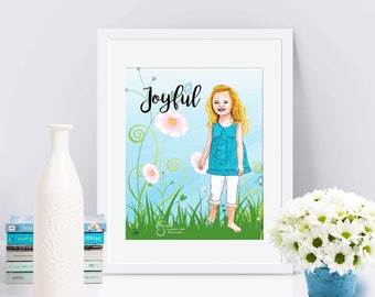 Joyful Inspirational Art Print of blonde barefoot Girl. Printed from original whimsical illustration of children. Will personalize text.
