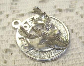 """Vintage Sterling Alberta Canada Charm... """"RED DEER""""..3D Deer Head...Canada Charm...Bracelet...Souvenir"""