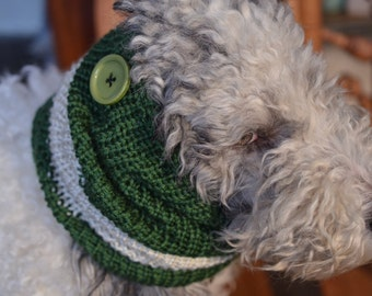 """Knit Dog Scarf/Cowl  Green and Cream  Size Medium -  16 Circumference by 17"""" long  Fits a dog with up to 20"""" Neck - Dog Clothing"""