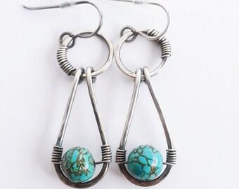 Rustic Turquoise Drop Earrings